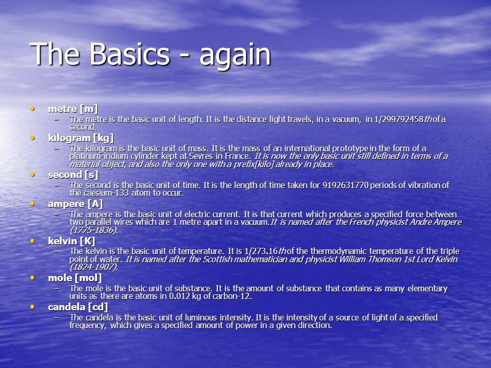 The Basics - again metre [m] kilogram [kg] second [s] ampere [A]